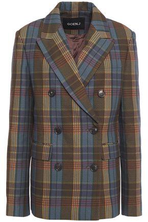GOEN.J Double-breasted checked cotton-twill blazer