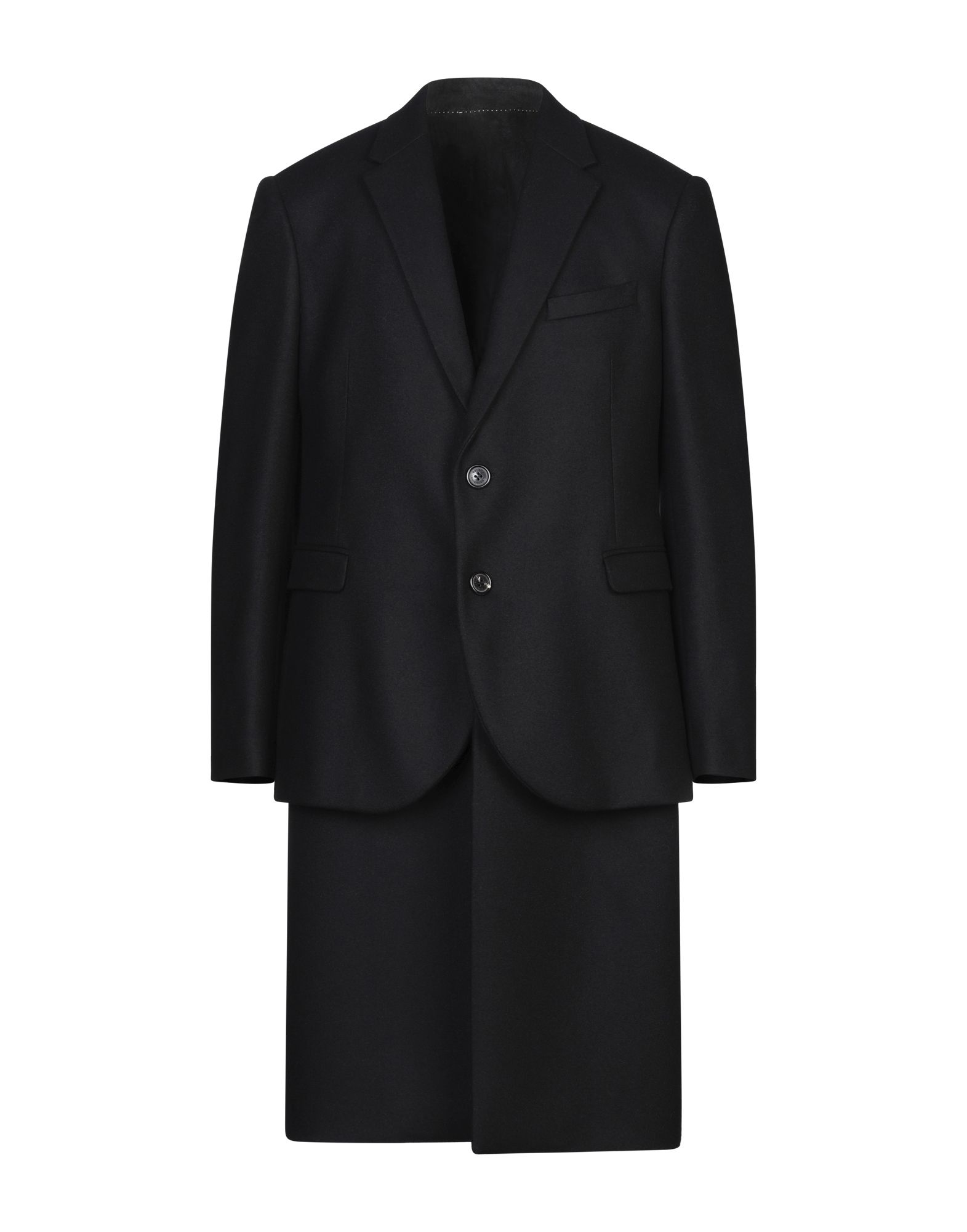 NEIL BARRETT Coats. baize, no appliqués, basic solid color, single-breasted, button closing, lapel collar, multipockets, long sleeves, fully lined, large sized. 80% Virgin Wool, 20% Polyamide