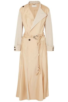 CHLOÉ Paneled satin-twill and woven trench coat