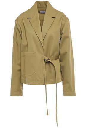 DEVEAUX Loden wrap-effect cotton-twill jacket