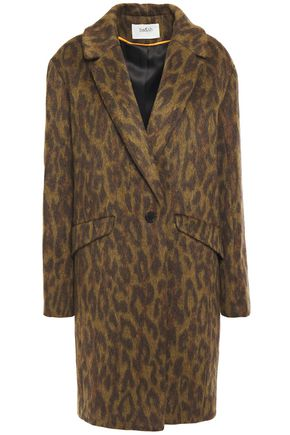 BA&SH Leopard-print brushed-woven coat