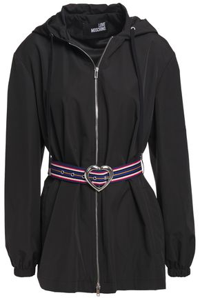 LOVE MOSCHINO Belted shell hooded jacket
