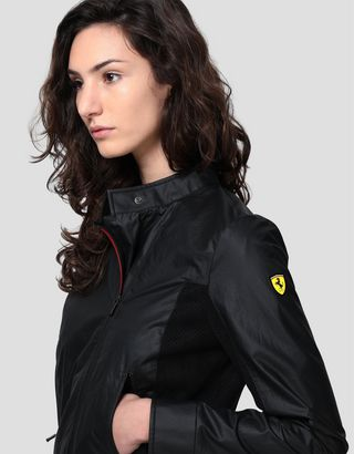 Scuderia Ferrari Online Store - Women's biker jacket in Hybrid Leather - Biker Jackets