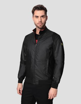 Scuderia Ferrari Online Store - Men's Racing bomber in Hybrid Leather - Bombers & Track Jackets