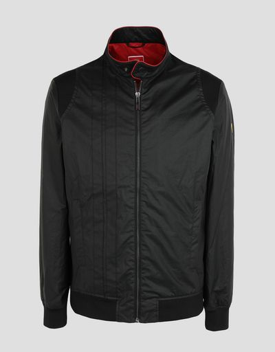 Scuderia Ferrari Online Store - Men's Racing Bomber Jacket in Hybrid Leather - Bombers & Track Jackets