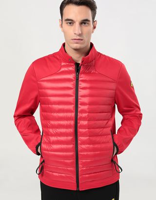 Scuderia Ferrari Online Store - Men's biker jacket in nylon and Softshell with Real Down lining - Down Jackets