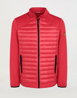 Scuderia Ferrari Online Store - Men's biker jacket in nylon and Softshell padded with Real Down - Down Jackets