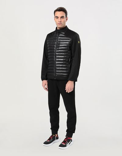 Men's biker jacket in nylon and Softshell with Real Down lining