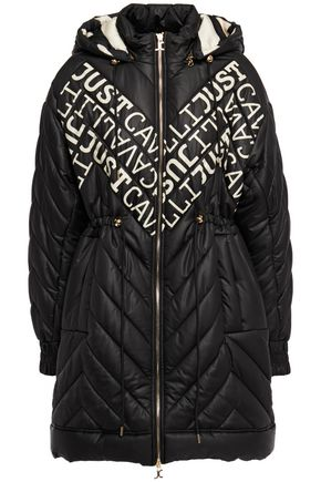 JUST CAVALLI Logo-print quilted shell hooded coat