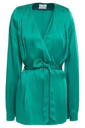 FORTE_FORTE Satin-crepe wrap jacket
