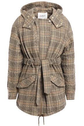 BA&SH Belted Prince of Wales checked wool-blend hooded coat