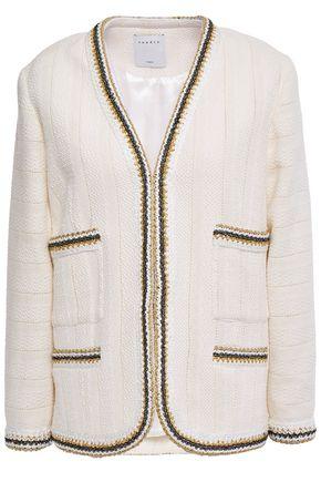 SANDRO Adeline metallic crochet-trimmed cotton-tweed jacket