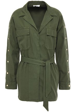 SANDRO Bari belted cotton and linen-blend twill jacket