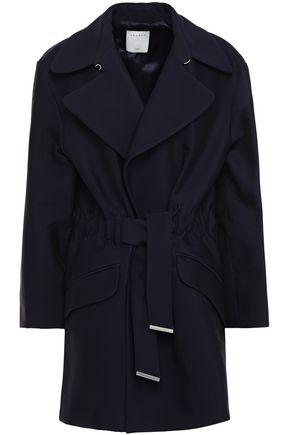 SANDRO Marius belted cotton-blend twill jacket