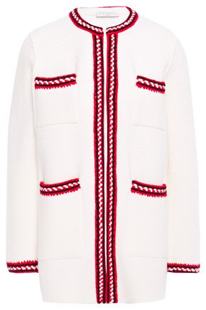 SANDRO Luce embroidered French cotton-blend terry jacket