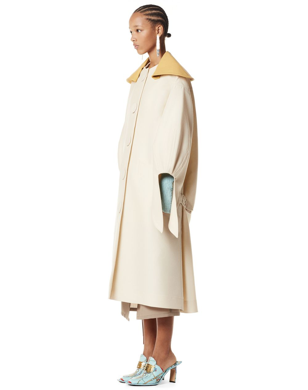 LONG OVERSIZE COAT WITH CAPE COLLAR IN WOOL AND SILK  - Lanvin