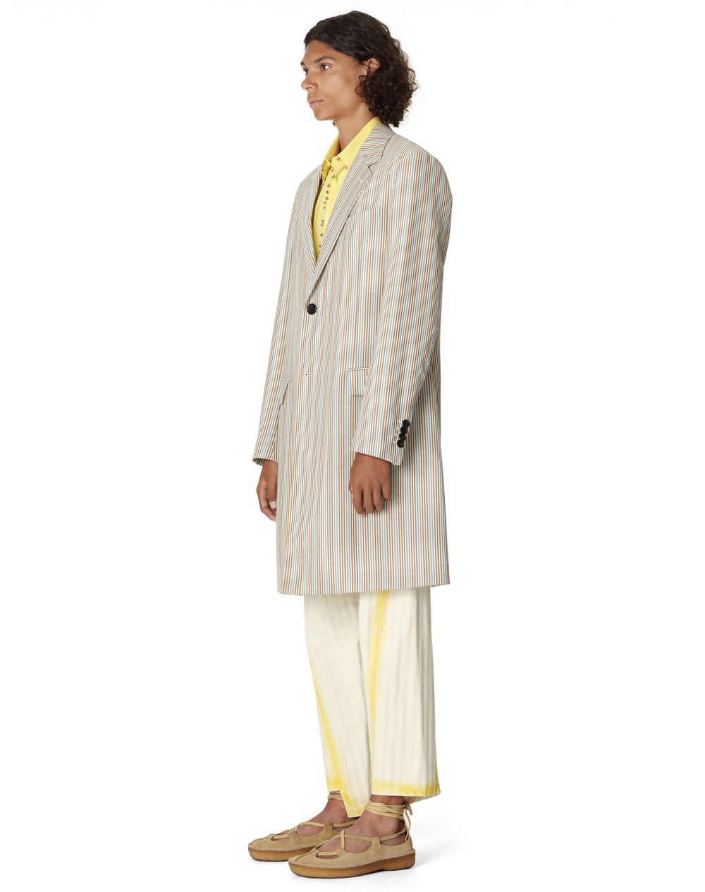 STRIPED WOOL AND SILK COAT - Lanvin