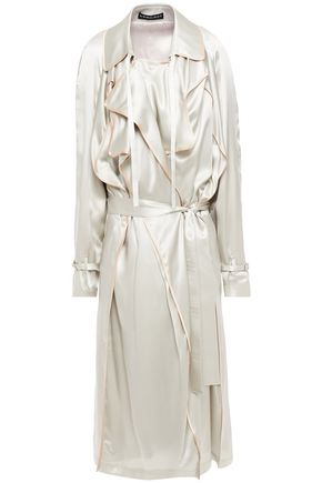 Y/PROJECT Belted silk-satin trench coat
