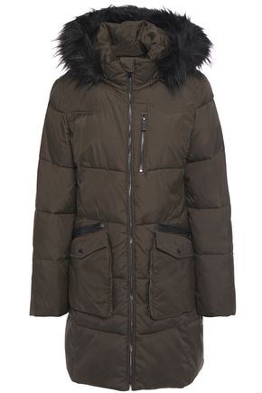 DKNY Faux fur and leather-trimmed quilted shell hooded coat