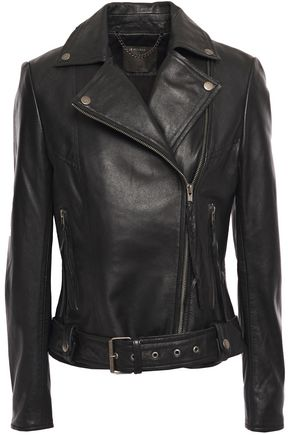 MUUBAA Belted textured-leather biker jacket