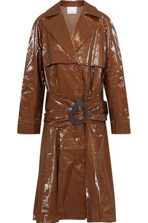 TIBI Crinkled-vinyl trench coat