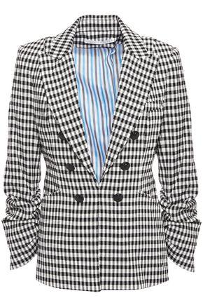 VERONICA BEARD Button-embellished gingham crinkled-woven blazer
