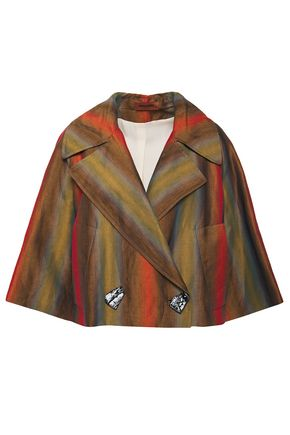 MISSONI Iridescent-effect striped linen-blend twill jacket