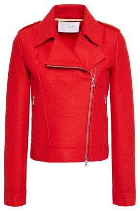 HARRIS WHARF LONDON Wool-felt biker jacket
