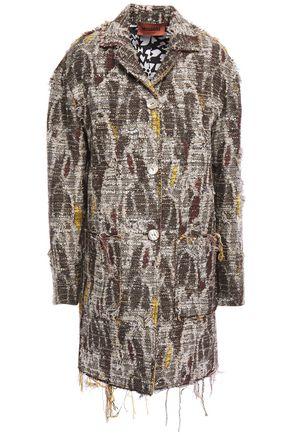 MISSONI Distressed bouclé-tweed cotton-blend coat