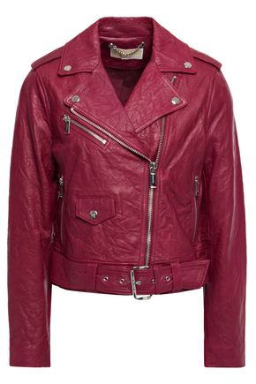 MICHAEL MICHAEL KORS Cropped belted crinkled leather biker jacket