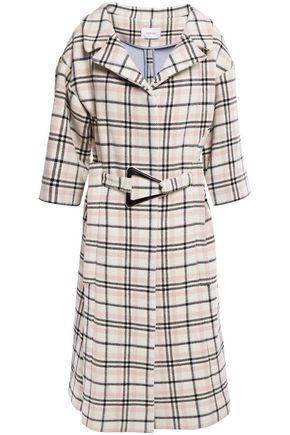 CARVEN Belted checked wool-blend coat