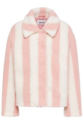 STAND STUDIO Marthe striped faux shearling jacket