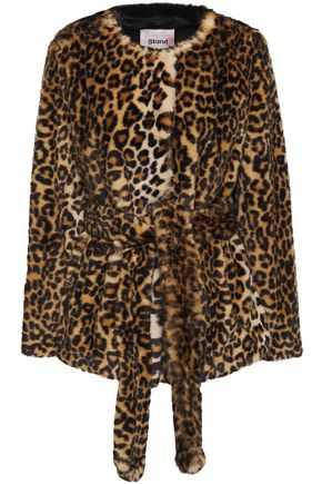 STAND STUDIO Odela belted leopard-print faux fur jacket