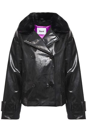 STAND STUDIO Betti faux fur-trimmed PVC jacket