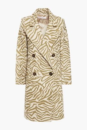 SEE BY CHLOÉ Double-breasted zebra-print wool-blend jacquard coat