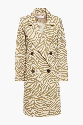 SEE BY CHLOÉ معطف من الجاكار المصنوع من مزيج الصوف مزخرف بنقوش الحمار الوحشي مع أزرار مزدوجة