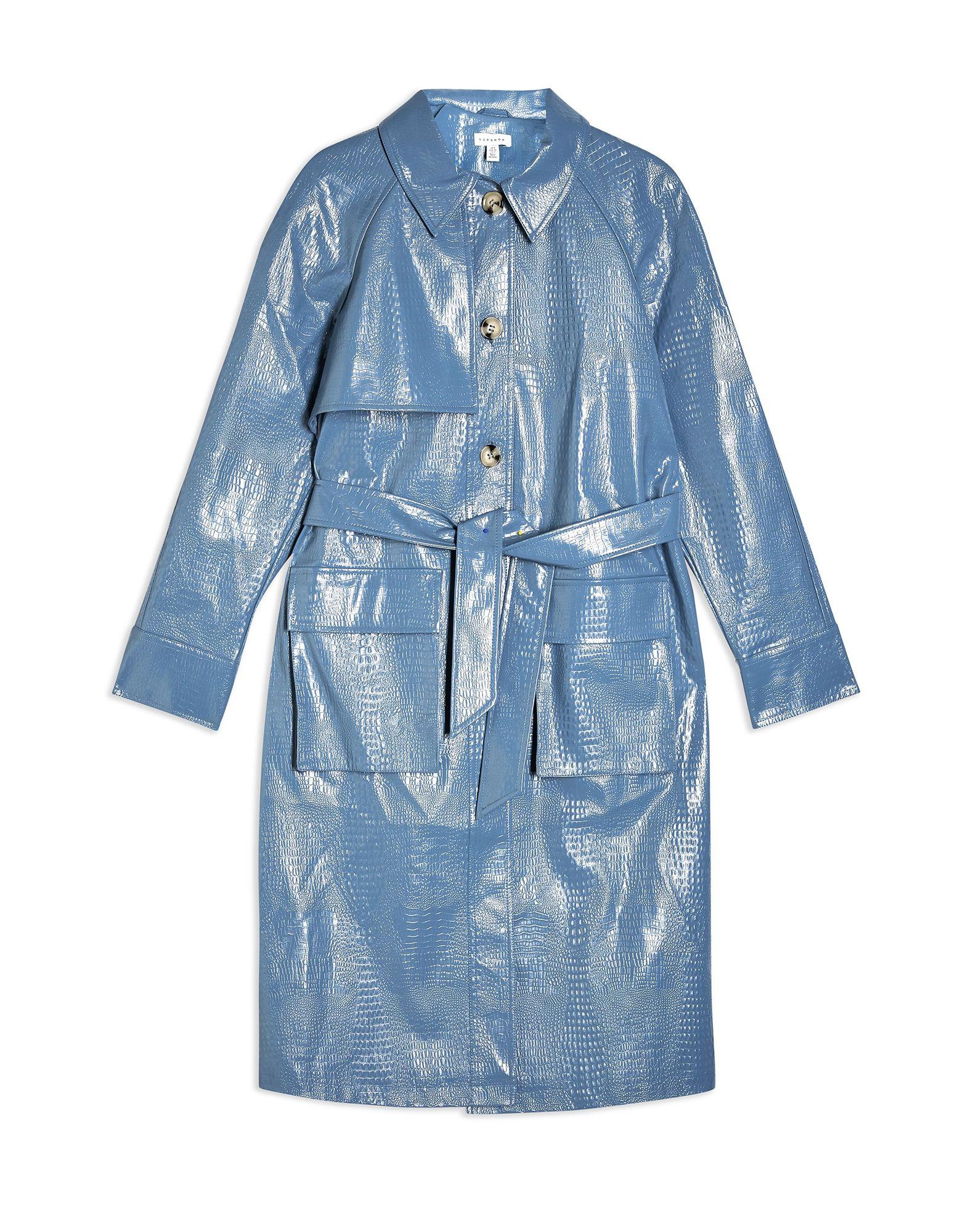 《セール開催中》TOPSHOP レディース ライトコート パステルブルー 6 ポリウレタン 100% BLUE FAUX CROC VINYL TRENCH COAT
