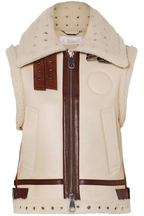 CHLOÉ Shearling-lined suede-trimmed leather vest