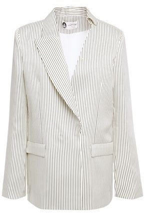 LANVIN Crystal-embellished striped silk-blend twill blazer