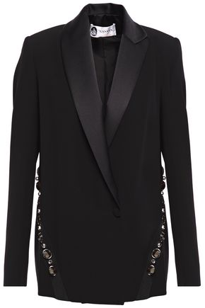 LANVIN Embellished satin-trimmed crepe blazer
