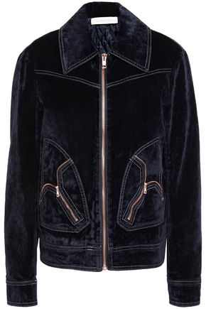 SEE BY CHLOÉ Distressed cotton-blend velvet bomber jacket