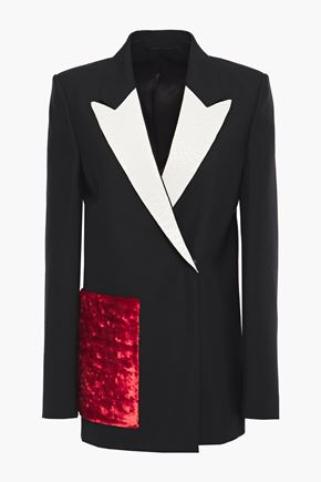 ACNE STUDIOS Deana wool and mohair-blend, velvet and snake-effect leather blazer