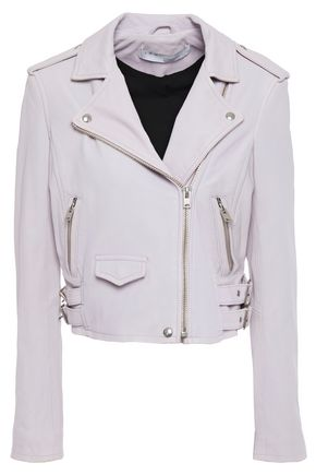 IRO Ashville cropped washed-leather biker jacket