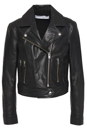 IRO Bapey cropped pebbled-leather biker jacket