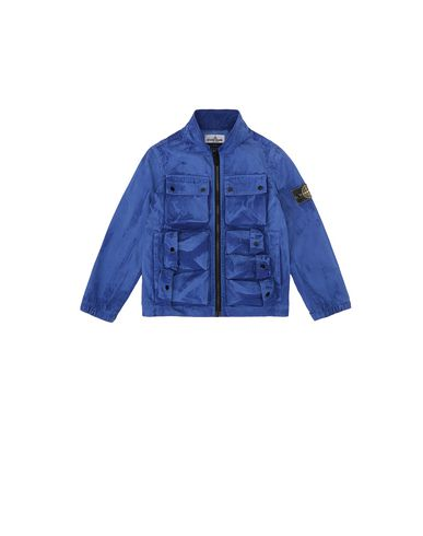 STONE ISLAND KIDS 41236 TRATTAMENTO BRUSH Jacket Man Periwinkle USD 272