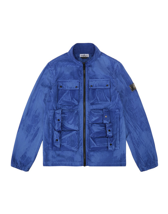 STONE ISLAND JUNIOR 41236 TRATTAMENTO BRUSH 캐주얼 재킷 남성 페리윙클