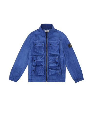 STONE ISLAND JUNIOR 41236 TRATTAMENTO BRUSH Jacket Man Periwinkle EUR 430
