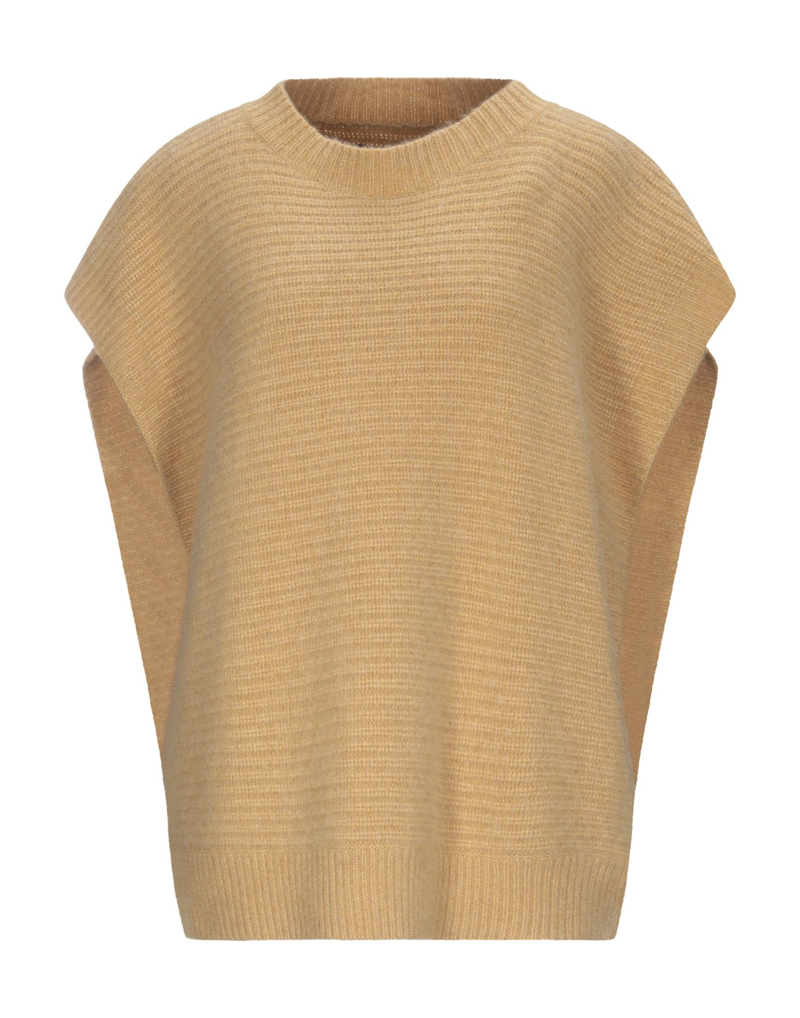 ISABEL MARANT Capes & ponchos. knitted, no appliqués, basic solid color, round collar, no pockets, sleeveless, unlined, single-breasted. 100% Cashmere