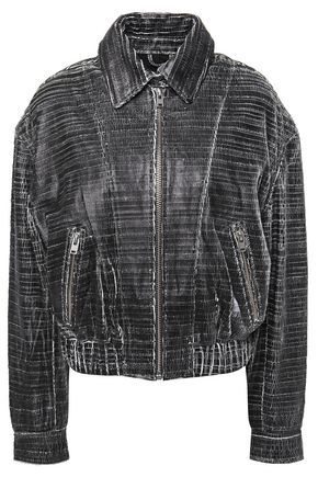 IRO Griez cracked-leather bomber jacket