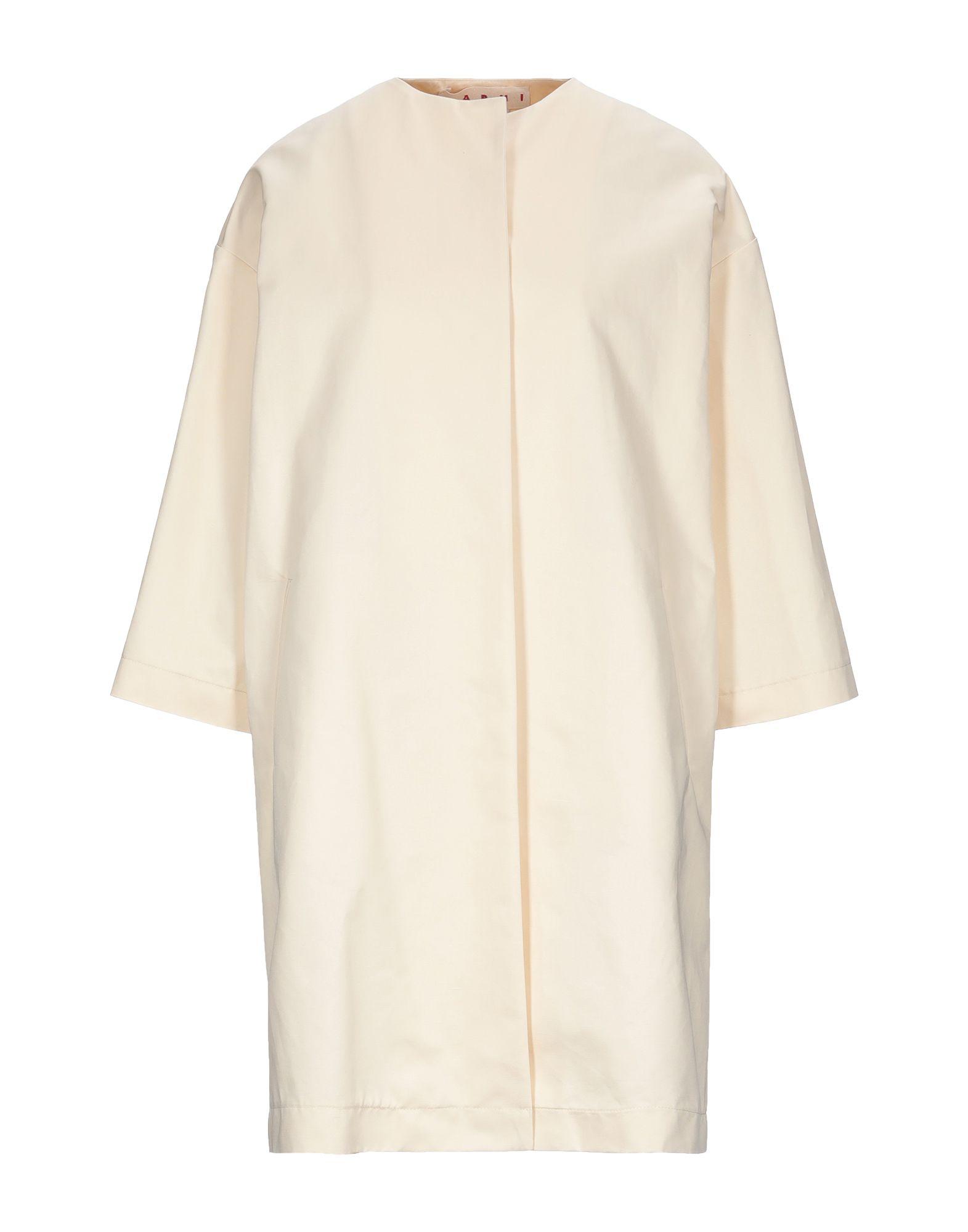 MARNI Overcoats. gabardine, no appliqués, single-breasted, basic solid color, deep neckline, multipockets, long sleeves, unlined. 77% Cotton, 23% Linen